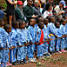 David Sheldrick Elephant Orphanage - Schoolkids from Nairobi line up to see the orphans.